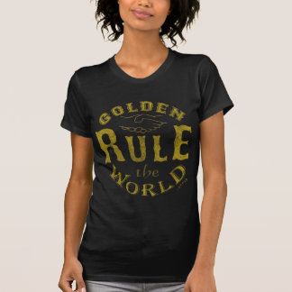 Ladies Dark T-Shirt Vintage Golden Rule The World