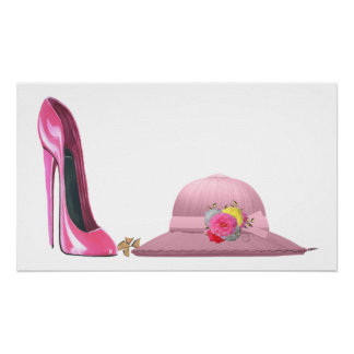 Ladies Day! Pink Stiletto Shoe and Hat Art Poster