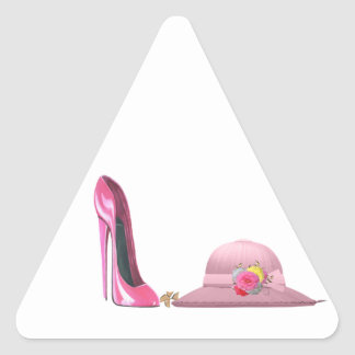 Ladies Day! Pink stiletto shoe and hat art Triangle Sticker