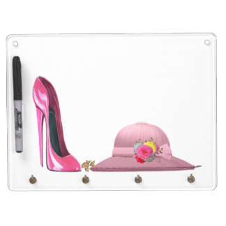 Ladies Day! Pink Stiletto Shoe and Hat Dry Erase Whiteboards