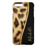 Ladies Elegant Faux Leopard Skin Monogram iPhone 8 Plus/7 Plus Case