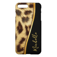 Ladies Elegant Faux Leopard Skin Monogram iPhone 8 Plus/7 Plus Case