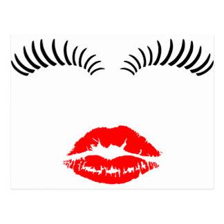 Ladies Eye Lahes and LipStick Kiss Postcard