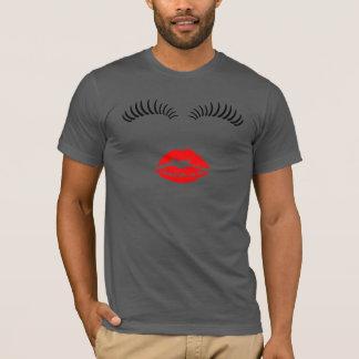 Ladies Eye Lashes and LipStick Kiss T-Shirt