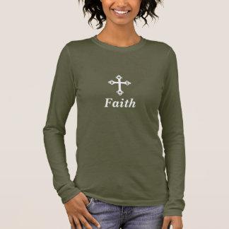 Ladies' Faith Cross Brown Long-Sleeve T-Shirt