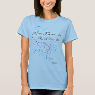 "Ladies' Fitted Baby Blue shirt: ""Jesus Knows Me, T T-Shirt"