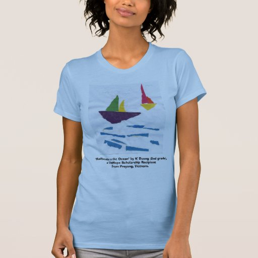 """LADIES FITTED BLUE TANK TOP """"Sailboats"""""""