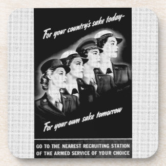 Ladies Go to The Nearest Recruiting Station Drink Coaster