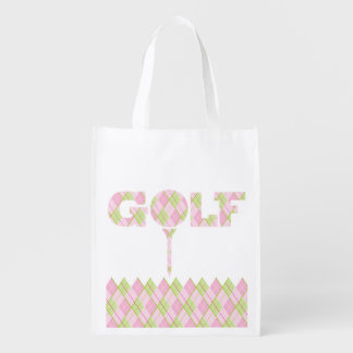 Ladies golf argyle patterned printed bag reusable grocery bags