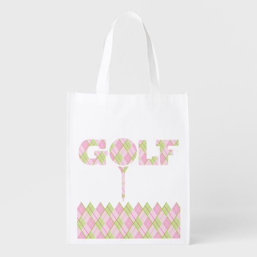 Ladies golf argyle patterned printed bag grocery bags