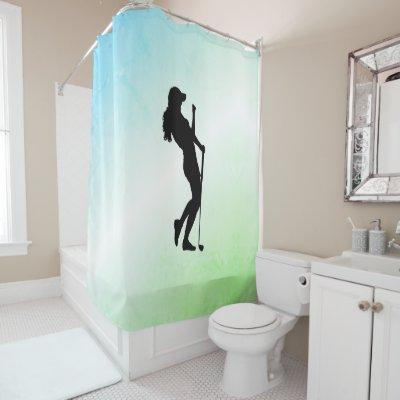 Ladies Golf Green Shower Curtain