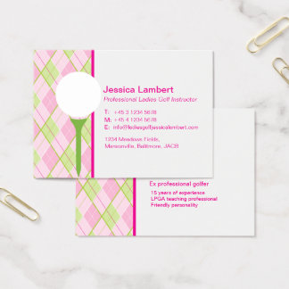 Ladies golf instructor large business cards
