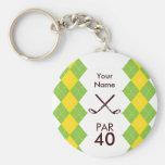 Ladies Golf Party Argyle Preppy Basic Round Button Keychain