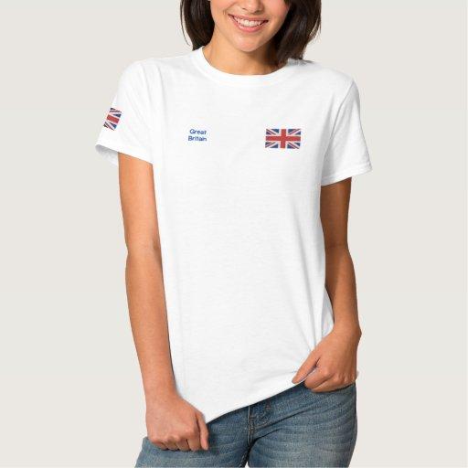 Ladies Great Britain British Flag Embroidered Shirt