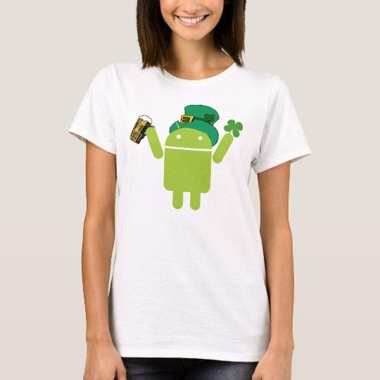 Ladies Green Android Leprechaun Shirt