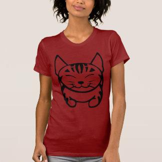 Ladies Happy Cat T-shirt (black tabby)