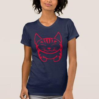 Ladies Happy Cat T-shirt (red tabby)