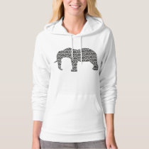 Ladies Hooded Top Elephant Damask Pattern