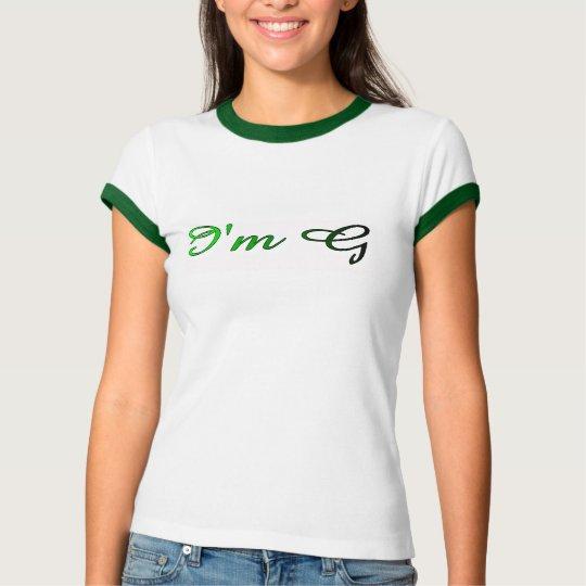 Ladies I'm G Ringer T-Shirt Italic - Green