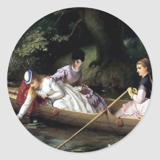 Ladies in a Boat painting Classic Round Sticker