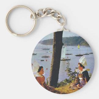 Ladies in Breton costume Basic Round Button Keychain