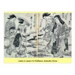 Ladies in country by Nishikawa, Sukenobu Ukiyoe Postcard