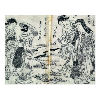 Ladies in country by Nishikawa, Sukenobu Ukiyoe Post Card