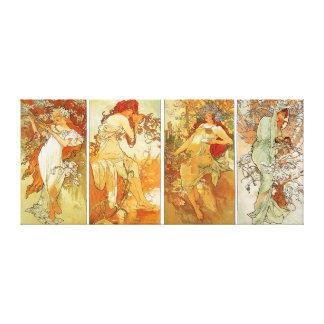 Ladies in Four Season Vintage Painting Canvas Print