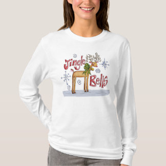 Ladies Jingle Bells Christmas Jumper - Reindeer T-Shirt