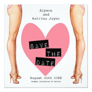 Ladies Legs Lesbian Save The Date Card