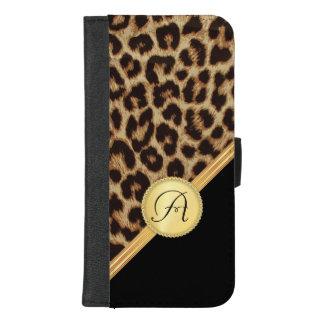 Ladies Leopard Print with Monogram iPhone5 iPhone 8/7 Plus Wallet Case