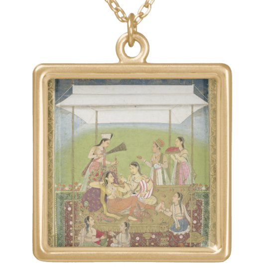 Ladies listening to music in a garden, from the Sm Gold Plated Necklace
