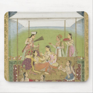 Ladies listening to music in a garden, from the Sm Mouse Pad