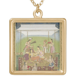 Ladies listening to music in a garden, from the Sm Square Pendant Necklace