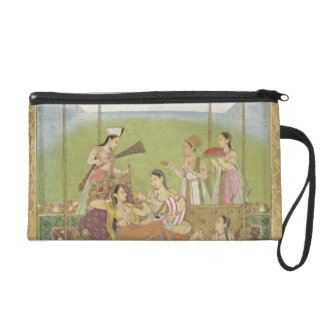 Ladies listening to music in a garden, from the Sm Wristlet