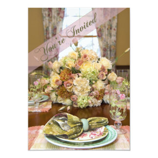 "Ladies Luncheon Invitation (Floral Table Setting) 5"" X 7"" Invitation Card"