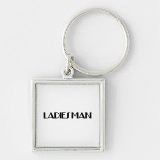 Ladies Man Silver-Colored Square Keychain