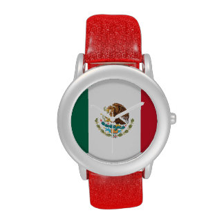 Ladies' Mexican Flag Watch (Red Glitter Strap)