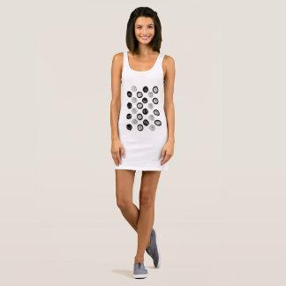 Ladies minidress : white and black sleeveless dress