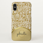 "Ladies Monogram Modern Faux Gold Floral Abstract iPhone X Case<br><div class=""desc"">Elegant abstract floral flourish damask pattern. Chic and stylish for the fashionable executive or professional woman, but trendy enough to impress the cool young modern girl on your gift list. Personalize this patterned case with your name, monograms, initials, or custom text. Create your own unique luxury look -- click Customize...</div>"