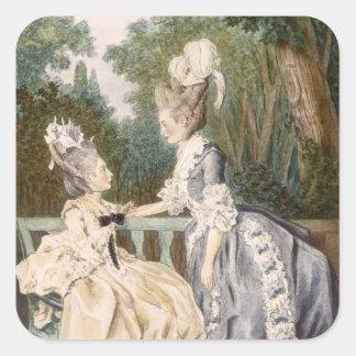Ladies' Morning Dress, 1771 (colour engraving) Square Sticker