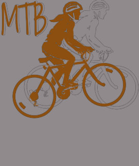 Ladies Mountain Biking MTB deisgn in orange/white T Shirts