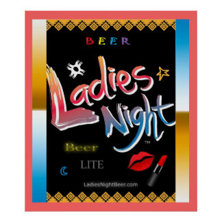 """Ladies Night Beer"" Bar Room Poster"