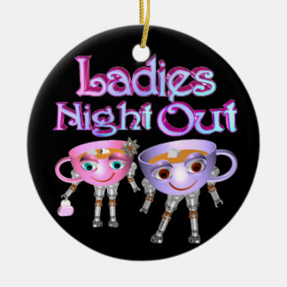Ladies Night Out by Valxart.com Double-Sided Ceramic Round Christmas Ornament
