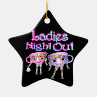 Ladies Night Out by Valxart.com Double-Sided Star Ceramic Christmas Ornament