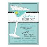 Ladies Night Out Martini Aqua Birthday Celebration Card