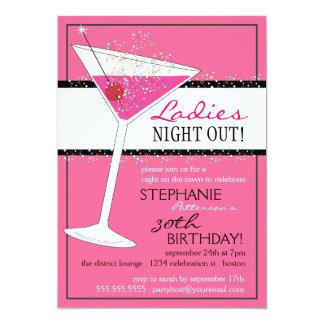 Ladies Night Out Martini Pink Birthday Celebration 5x7 Paper Invitation Card