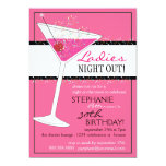 Ladies Night Out Martini Pink Birthday Celebration Custom Announcement