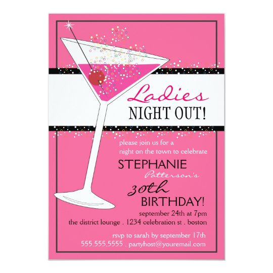 Ladies Night Out Martini Pink Birthday Celebration Invitation