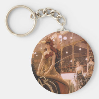 Ladies of the Cars (Circus) by Tissot, Vintage Art Key Chain